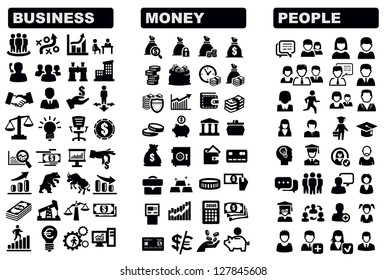 vector black business, money and people icons set