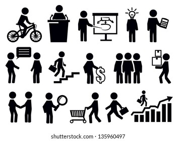 vector black business people icons set on white