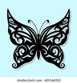 Vector, black butterfly on a blue background. Laser cutting
