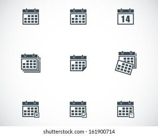Vector black calendar icons set