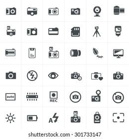 vector black camera icon set on gray
