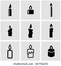 Vector black candles icon set.