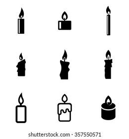 Vector black candles icon set.