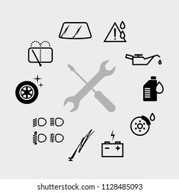 Vector black car check and service icons