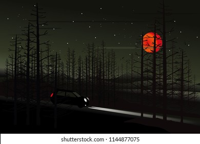 vector black car driving on the local road on dark forest  and big red moon. holloween background