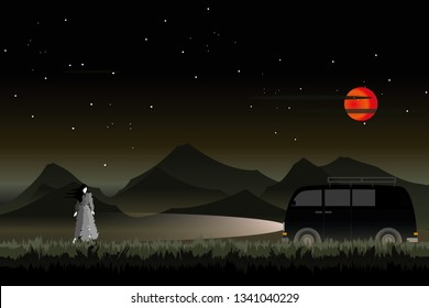 vector black car driving on the local road on dark forest  and big red moon.Mysterious woman on the road. holloween background.