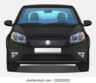 Vector black Car - Front view | Visible interior version