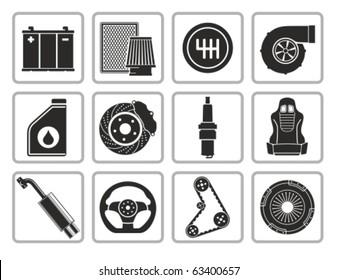 Vector black car parts icons set.