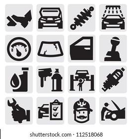 vector black car service icon set on gray