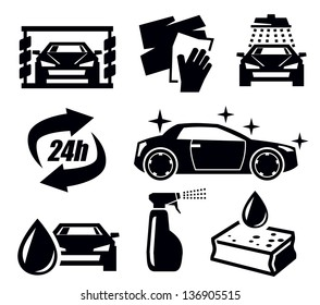 vector black car wash icons set on white