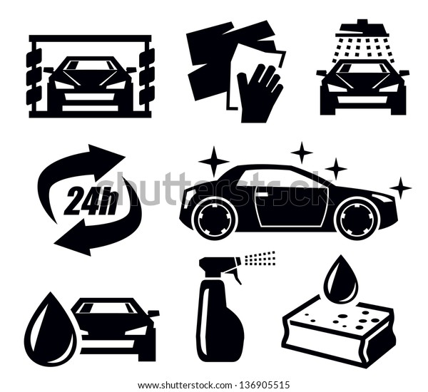 Vector Black Car Wash Icons Set Stock Vector Royalty Free 136905515