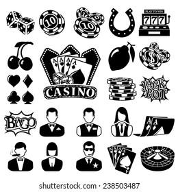 Vector black casino icons set on white