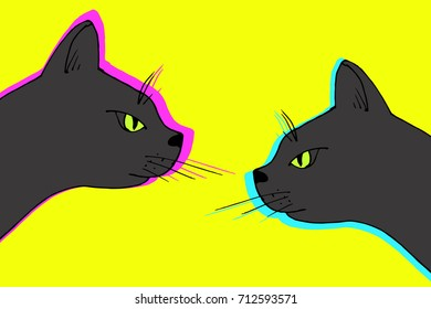 Vector black cat couple. Domestic animal hand drawn illustration
