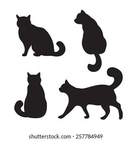 Vector black cats illustration isolated on white