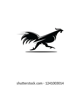 Vector black chicken running