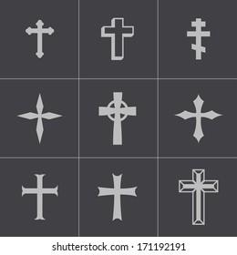 Vector black christian crosses icons set on gray background.