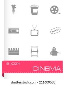 Vector black cinema icons set on white background