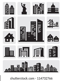 vector black cities silhouette icon set on gray