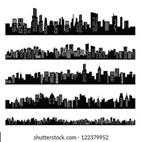 vector black city icons set on white