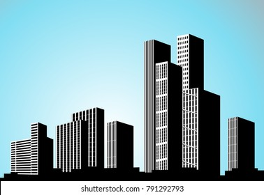 Vector black city silhouette. Background with buildings. City scene. Big skyscrapers panorama.