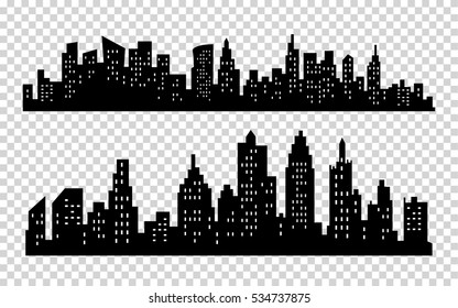 Vector black city silhouette icons set isolated on white background