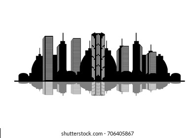 vector black cityscape silhouette with reflection. modern city illustration