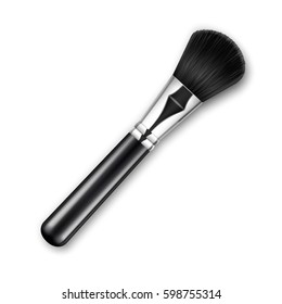 Vector Black Clean Professional Makeup Powder Brush with Black Handle Isolated on White Background