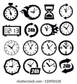 vector black clocks icon set on white