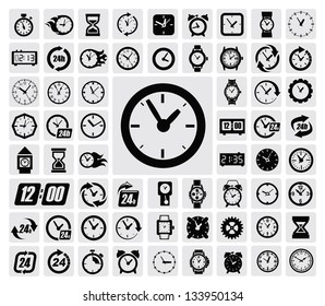 vector black clocks icon set on gray
