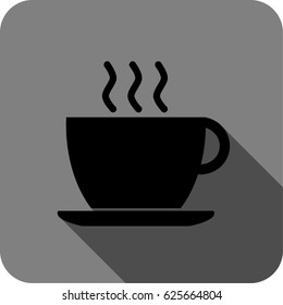 vector black coffee cup icon in gray background with shadow