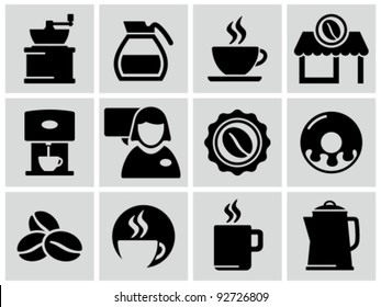 Vector black coffee shop icons set.