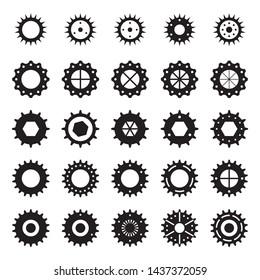 Vector of black cog. Gear wheels icon set on white background. Gear wheels icon set. Vector illustration