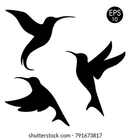 Vector black colibri silhouette. Birds set on white background