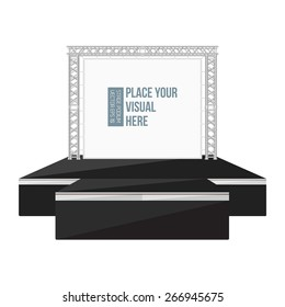 vector black color flat style high podium outdoor stage with banner on metal truss system