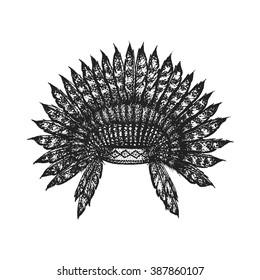e240f49ef6397 vector black color monochrome dotted art retro tattoo gravure style native  american feather head war bonnet