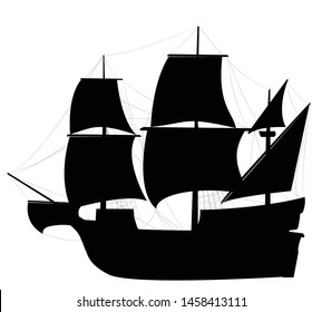 Vector black colored Caravel sailing ship illustration