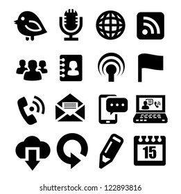 vector black communication icons set on gray