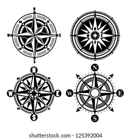 vector black compass icons set on gray