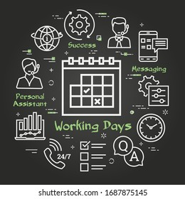 Vector black concept of online support - calendar with working days icon