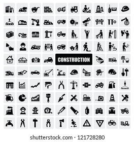 vector black construction icon set on gray