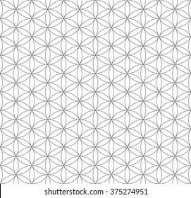 vector black contour monochrome hinduism sacred geometry flower of life seamless pattern white background