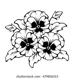Black and white pansies images stock photos vectors shutterstock vector black contour of pansy flowers isolated on a white background mightylinksfo