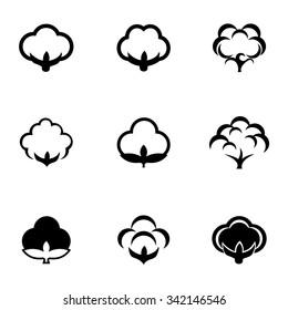 Vector black cotton icon set.