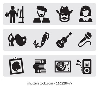 vector black creative professions icons set on gray