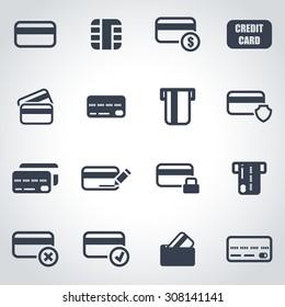Vector black credit card icon set.