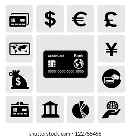 vector black credit card icons set on gray