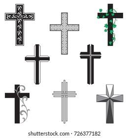 Vector  black  cross set on white background
