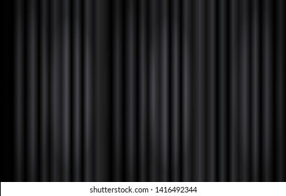 Vector Black Curtains Background, Stage Illumination Concept, Monochrome Backdrop Template.