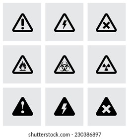 Vector black danger icon set on grey background