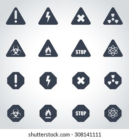 Vector black danger icon set.